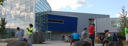 Taubman Service Building and Students