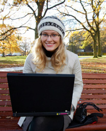 LTU Online - Blond Girl on Bench with Laptop