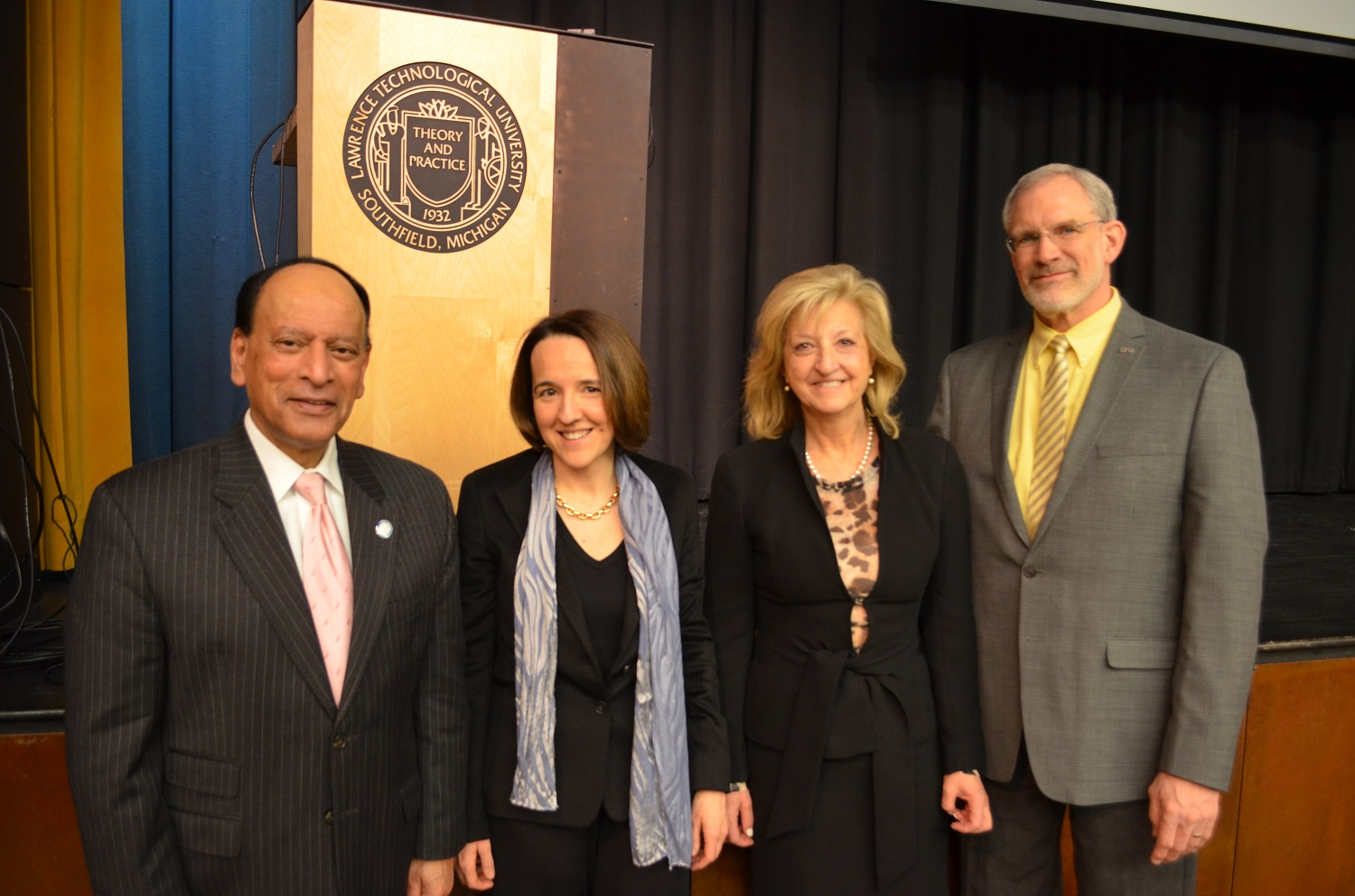 LTU President Virinder Moudgil, University of Michigan Professor Sara Pozzi, LTU Provost Maria Vaz, and Glen Bauer, interim dean of the LTU College of Arts and Sciences
