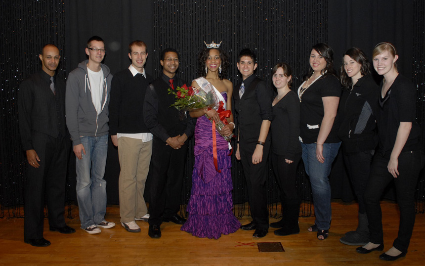 Jasmine Jones, Miss Lawrence Tech 2011 with members of SPAM (Demetrius Johnson, Brandon Hakeem, Erik Slagter, Jamiil Gaston, Gregory Sikora, Katie Hendrickson, Krysta Foster, Megan Ziegler, Deanna Hewitt)