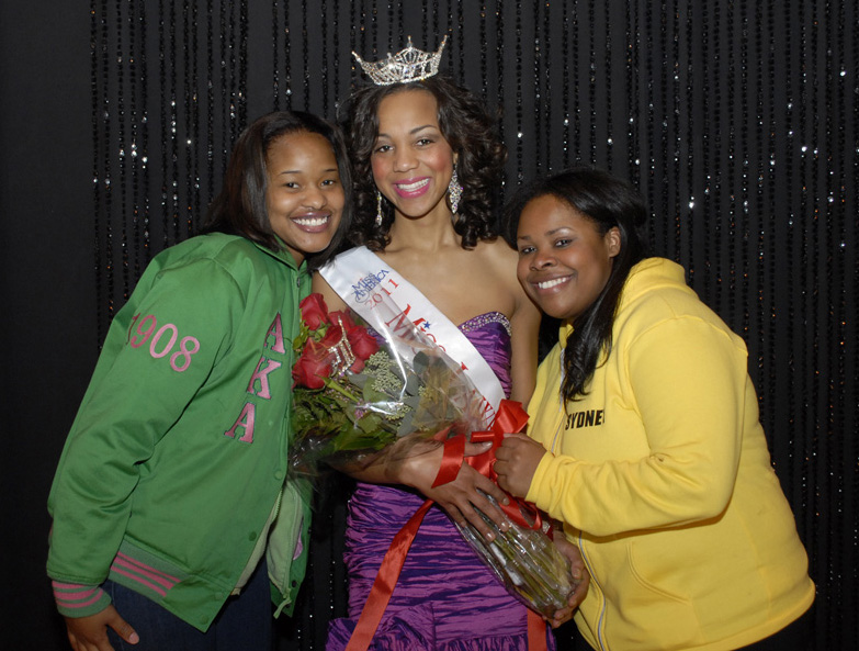 Jasmine Jones, Miss Lawrence Tech 2011, with her sorority sisters of Alpha Kappa Alpha Sorority, Inc.