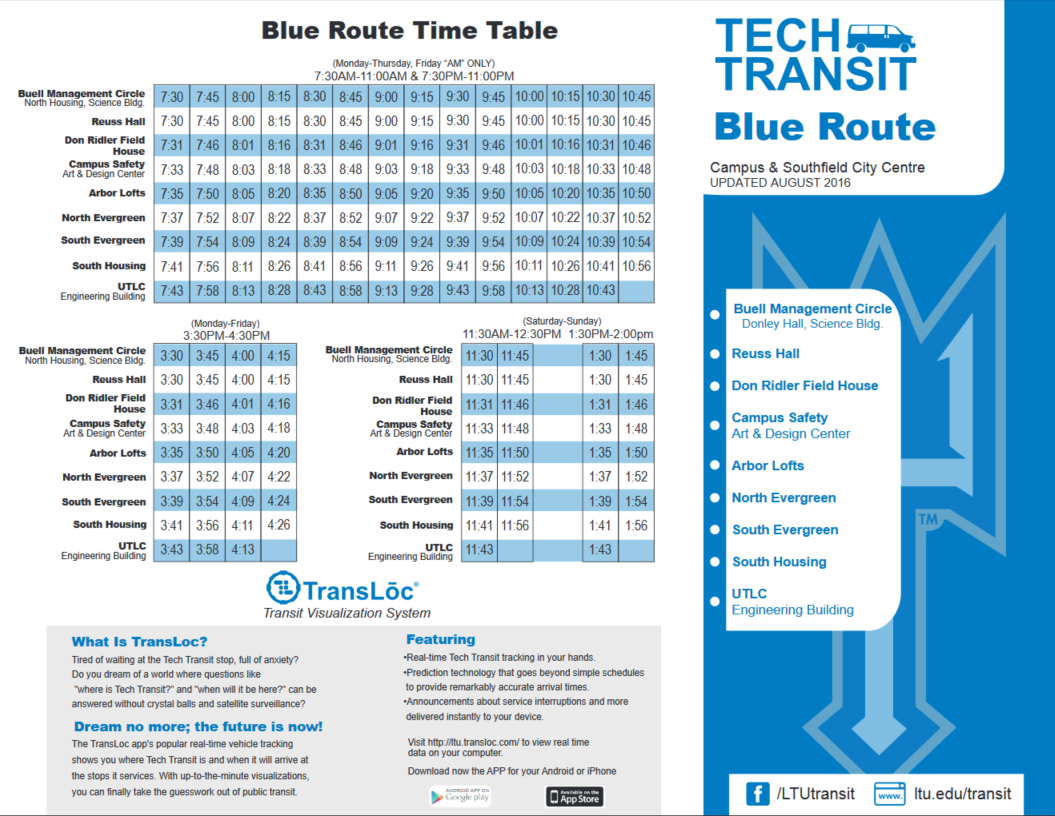 Blue Route Time Table