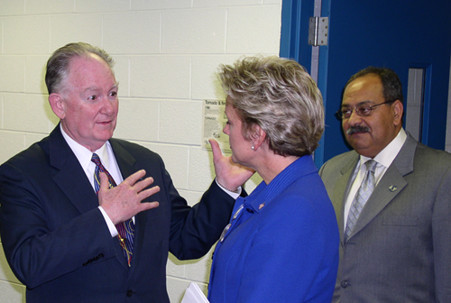 Lawrence Tech President Emeritus Dr. Charles Chambers, Governor Jennifer Granholm, and Dr. Nabil Grace
