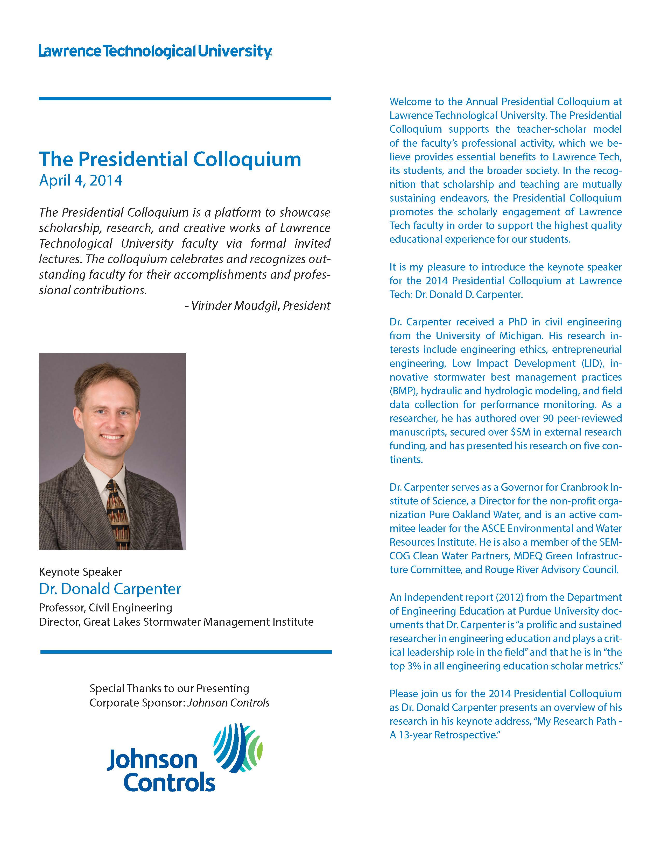 2nd Annual Presidential Colloquium flyer