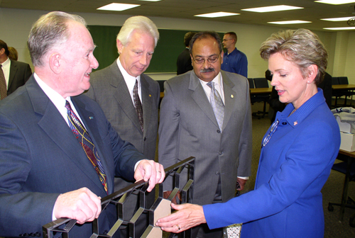 Dr. Charles Chambers, Lawrence Tech President Dr. Lewis Walker, Dr. Nabil Grace, and Governor Jennifer Granholm