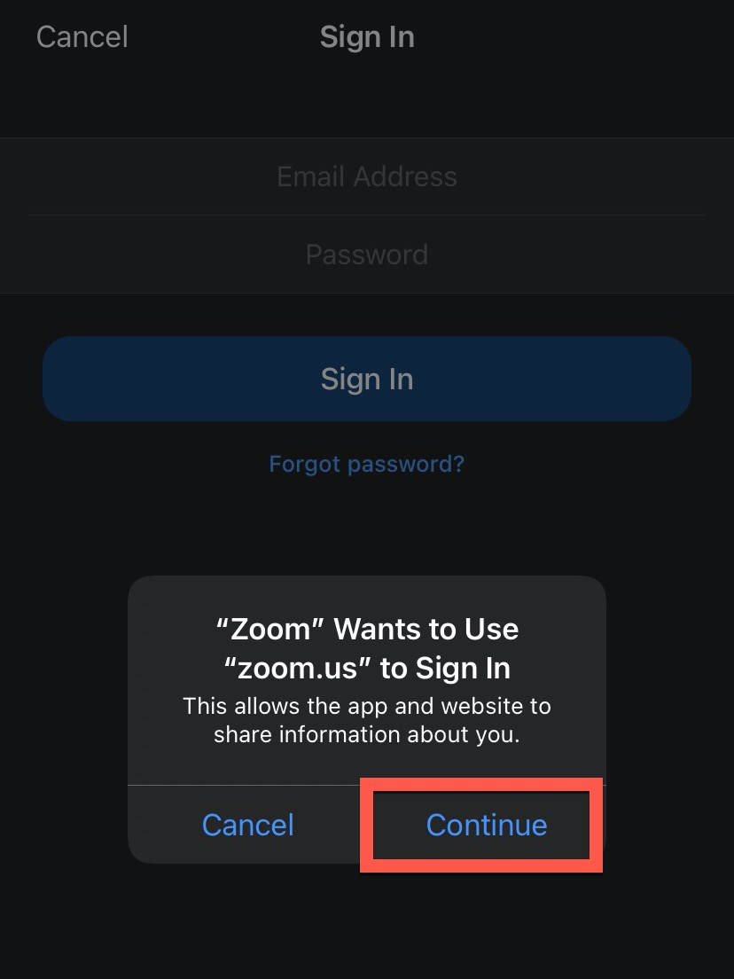 Zoom Smart Device Access Allow