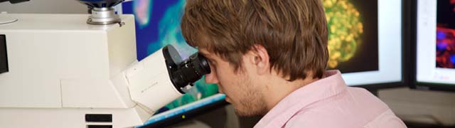 male student using microscope