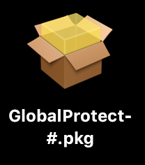 An image of  GlobalProtect-#.pkg file icon on a Mac
