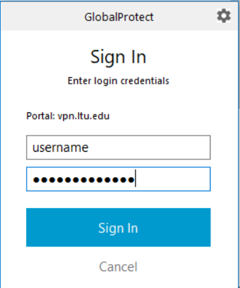 An image of the GlobalProtect window with an example username and password typed in.