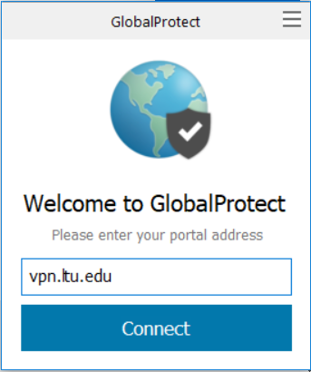An image of the GlobalProtect window with vpn.ltu.edu typed into the portal box.
