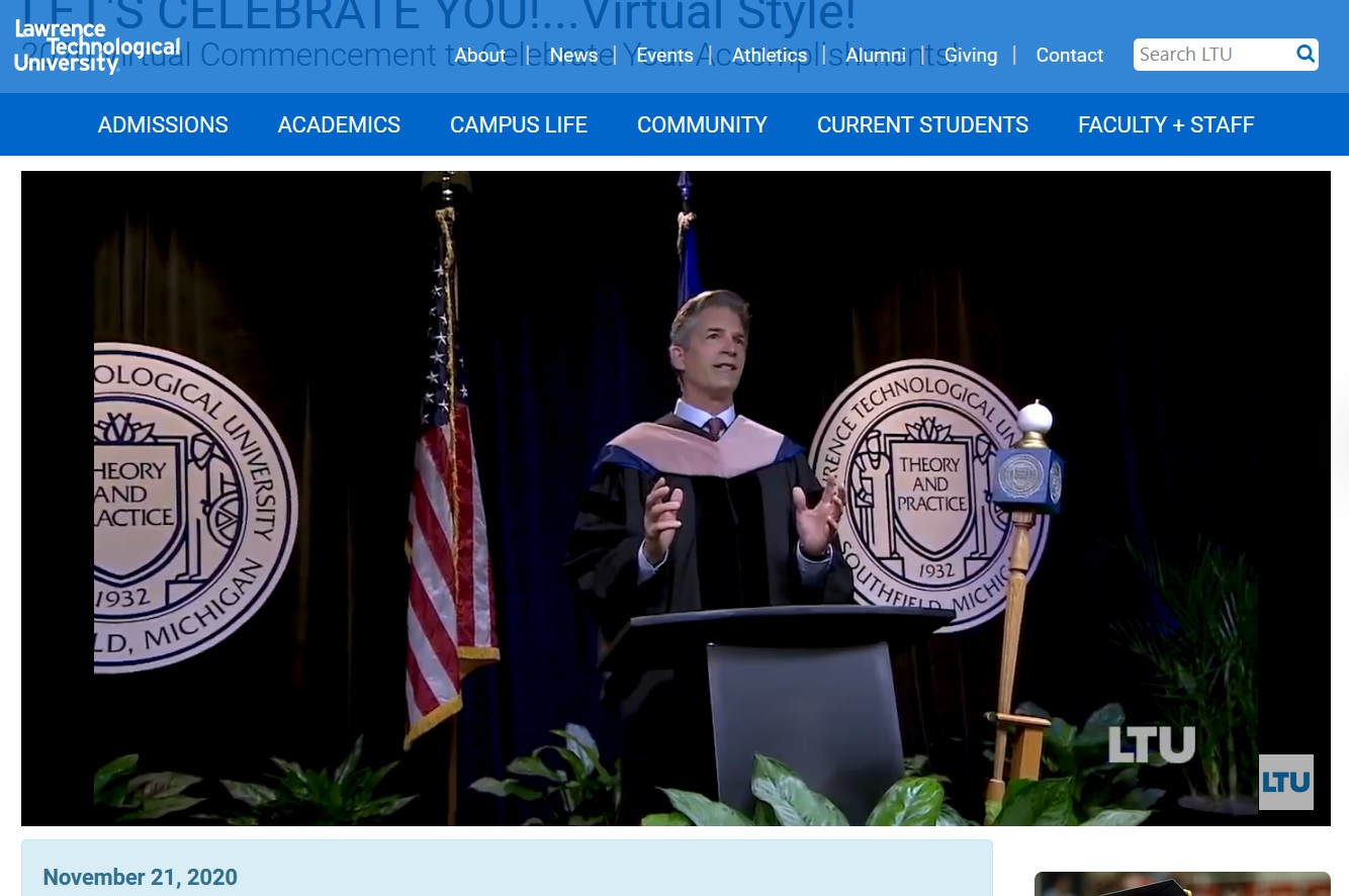A screen shot of Lawrence Technological University's 2020 Commencement exercises, streamed online Nov. 21, 2020.
