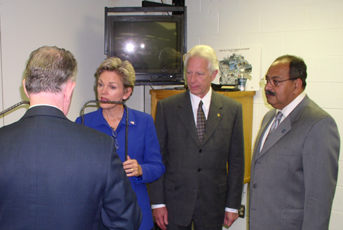 Dr. Charles Chambers, Governor Jennifer Granholm, Lawrence Tech President Dr. Lewis Walker, and Dr. Nabil Grace