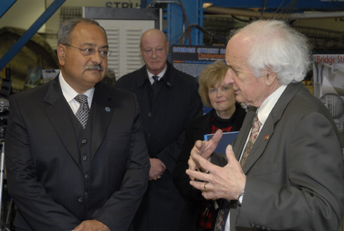 Congressman Sander Levin talks to Dr. Nabil Grace