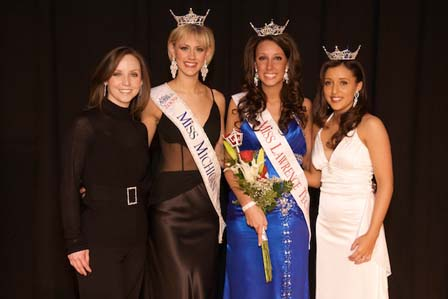L to R Brooke Van Belle (judge and LTU Alumni) Nicole Blaszczyk, Miss Michigan 2009; Jenelle Sekol, Miss Lawrence Tech 2010; Andrea Freile, Miss Lawrence Tech 2009