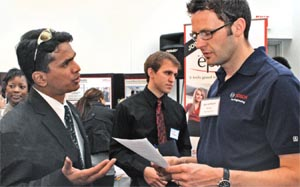 automotive engineering graduate student with recruiter